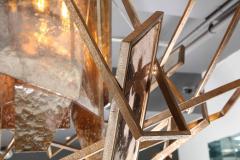 Charles Burnand Monumental Geometric Glass Paneled chandelier by Charles Burnand Nick Davis - 1325865