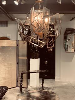 Charles Burnand Monumental Geometric Glass Paneled chandelier by Charles Burnand Nick Davis - 1325880