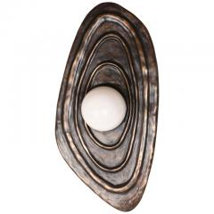 Charles Burnand Perla Wall Sconce in Cast Bronze with Alabaster Orb - 1455316