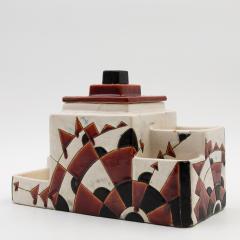 Charles Catteau Black and Brown Charles Catteau Keramis Boch Ceramic Art Deco Decorated Pot - 923353