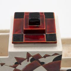 Charles Catteau Black and Brown Charles Catteau Keramis Boch Ceramic Art Deco Decorated Pot - 923355