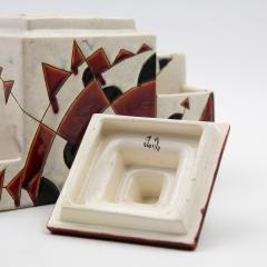 Charles Catteau Black and Brown Charles Catteau Keramis Boch Ceramic Art Deco Decorated Pot - 923358