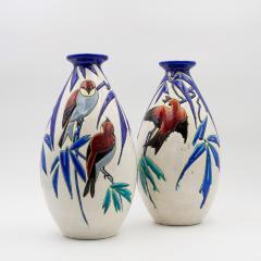 Charles Catteau Pair of Vase Aux Hirondelles by Charles Catteau for Bock Keramis Vases - 813045
