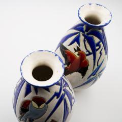 Charles Catteau Pair of Vase Aux Hirondelles by Charles Catteau for Bock Keramis Vases - 813047