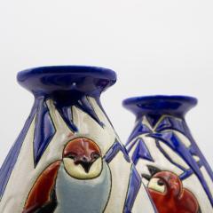 Charles Catteau Pair of Vase Aux Hirondelles by Charles Catteau for Bock Keramis Vases - 813049