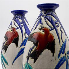 Charles Catteau Pair of Vase Aux Hirondelles by Charles Catteau for Bock Keramis Vases - 813050