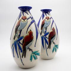 Charles Catteau Pair of Vase Aux Hirondelles by Charles Catteau for Bock Keramis Vases - 813051