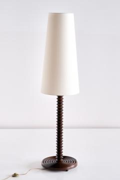 Charles Dudouyt Charles Dudouyt Floor Lamp in Carved Oak with Ivory Shade France 1940s - 1901124