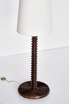 Charles Dudouyt Charles Dudouyt Floor Lamp in Carved Oak with Ivory Shade France 1940s - 1901126