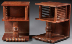 Charles Dudouyt Charles Dudouyt pair of oak sculpted pair of side table - 1714295