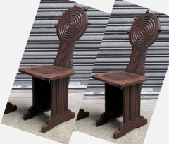 Charles Dudouyt Charles Dudouyt style rare pair of wood carved chairs - 1467201