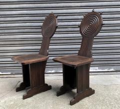 Charles Dudouyt Charles Dudouyt style rare pair of wood carved chairs - 1467225