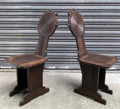 Charles Dudouyt Charles Dudouyt style rare pair of wood carved chairs - 1467227