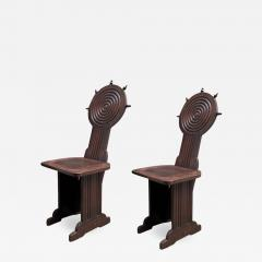 Charles Dudouyt Charles Dudouyt style rare pair of wood carved chairs - 1468644