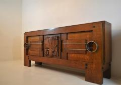 Charles Dudouyt Exceptional Sideboard in Solid Oak Signed Charles Dudouyt 1937 - 1061404
