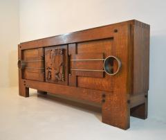 Charles Dudouyt Exceptional Sideboard in Solid Oak Signed Charles Dudouyt 1937 - 1061405