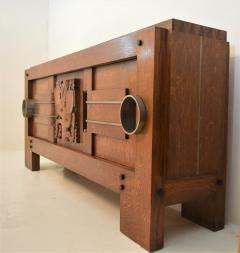 Charles Dudouyt Exceptional Sideboard in Solid Oak Signed Charles Dudouyt 1937 - 1061416