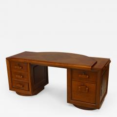 Charles Dudouyt French 1940s Oak Double Pedestal Base Desk - 446147