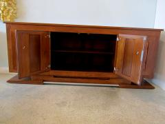Charles Dudouyt Important French Modern Oak and Pewter 4 Door Credenza Buffet Chares Dudouyt - 1182825