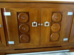 Charles Dudouyt Important French Modern Oak and Pewter 4 Door Credenza Buffet Chares Dudouyt - 1182828
