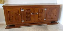 Charles Dudouyt Important French Modern Oak and Pewter 4 Door Credenza Buffet Chares Dudouyt - 1182832