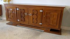 Charles Dudouyt Important French Modern Oak and Pewter 4 Door Credenza Buffet Chares Dudouyt - 1182833