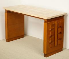 Charles Dudouyt SCULPTED OAK CONSOLE DESK WITH STONE TOP BY CHARLES DUDOUYT - 1646716