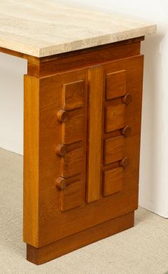 Charles Dudouyt SCULPTED OAK CONSOLE DESK WITH STONE TOP BY CHARLES DUDOUYT - 1646719