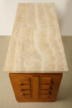 Charles Dudouyt SCULPTED OAK CONSOLE DESK WITH STONE TOP BY CHARLES DUDOUYT - 1646722