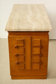 Charles Dudouyt SCULPTED OAK CONSOLE DESK WITH STONE TOP BY CHARLES DUDOUYT - 1646725