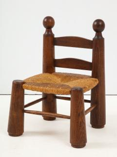 Charles Dudouyt Small Chair Rush Seat Ball Finials attrib Charles Dudouyt France c 1940 - 1309615