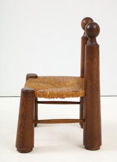 Charles Dudouyt Small Chair Rush Seat Ball Finials attrib Charles Dudouyt France c 1940 - 1309621
