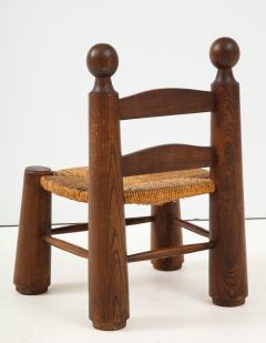 Charles Dudouyt Small Chair Rush Seat Ball Finials attrib Charles Dudouyt France c 1940 - 1309623