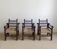 Charles Dudouyt THREE CHARLES DUDOUYT RUSH SEAT ARM CHAIRS - 2097202
