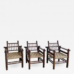 Charles Dudouyt THREE CHARLES DUDOUYT RUSH SEAT ARM CHAIRS - 2098212