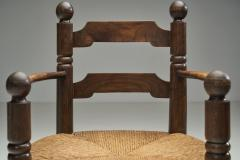 Charles Dudouyt Wood and Wicker Turned Chairs by Charles Dudouyt France 1940s - 2078906