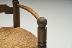 Charles Dudouyt Wood and Wicker Turned Chairs by Charles Dudouyt France 1940s - 2078907