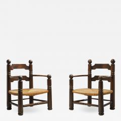 Charles Dudouyt Wood and Wicker Turned Chairs by Charles Dudouyt France 1940s - 2109067