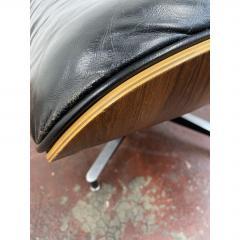 Charles Eames 1970s Black Leather Eames Ottoman 671 - 1753946
