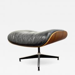 Charles Eames 1970s Black Leather Eames Ottoman 671 - 1754011
