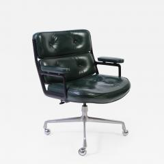 Charles Eames Time Life Chair By Eames For Herman Miller In Green Leather    243376