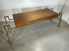 Charles Hollis Jones American Modern Polished Steel and Walnut Desk Charles Hollis Jones - 2051763
