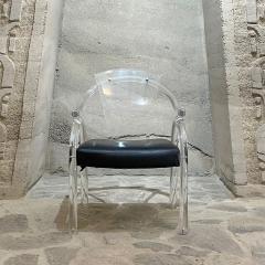 Charles Hollis Jones Asian Inspired Lucite Chairs Navy Vinyl Charles Hollis Jones Regency 1970s - 2020484