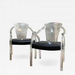 Charles Hollis Jones Asian Inspired Lucite Chairs Navy Vinyl Charles Hollis Jones Regency 1970s - 2022506