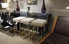 Charles Hollis Jones Charels Hollis Jones Rare Set of 3 Swiveling Lucite Bar Stools 1970s - 640616