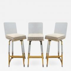 Charles Hollis Jones Charels Hollis Jones Rare Set of 3 Swiveling Lucite Bar Stools 1970s - 641591