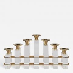 Charles Hollis Jones Charles Hollis Jones Candle Holder Candelabra in Brass Lucite - 1627610