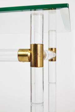 Charles Hollis Jones Charles Hollis Jones Faux Bamboo in Lucite Brass Console Pair Available  - 593174