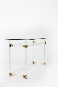 Charles Hollis Jones Charles Hollis Jones Faux Bamboo in Lucite Brass Console Pair Available  - 593176
