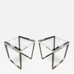 Charles Hollis Jones Charles Hollis Jones Side Tables In Lucite And  Polished Nickel From The Box